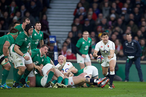 27.02.2016. Twickenham, London, England. RBS Six Nations Championships. England versus Ireland. England scrum-half Ben Youngs clears the ball along his line