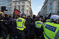 UKIP and Tommy Robinson hold a 'Brexit Bterayal' protest opposed by anti fascists in central London 9-12-18. There were scuffles between anti fascists the police and rightwing extremists.