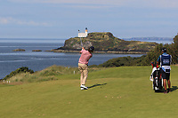 Pedro Figueiredo (POR) on the 4th during Round 1 of the Aberdeen Standard Investments Scottish Open 2019 at The Renaissance Club, North Berwick, Scotland on Thursday 11th July 2019.<br /> Picture:  Thos Caffrey / Golffile<br /> <br /> All photos usage must carry mandatory copyright credit (© Golffile | Thos Caffrey)