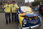 Two Catalan men at a pro-Scottish independence gathering in George Square, Glasgow. The gathering brought together Yes Scotland supporters who favour Scotland leaving the union with the United Kingdom. On the 18th of September 2014, the people of Scotland voted in a referendum to decide whether the country's union with England should continue or Scotland should become an independent nation once again and leave the United Kingdom.