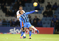Gillingham's Brandon Hanlan and Blackpool's Marc Bola<br /> <br /> Photographer Rachel Holborn/CameraSport<br /> <br /> The EFL Sky Bet League One - Gillingham v Blackpool - Tuesday 6th November 2018 - Priestfield Stadium - Gillingham<br /> <br /> World Copyright &copy; 2018 CameraSport. All rights reserved. 43 Linden Ave. Countesthorpe. Leicester. England. LE8 5PG - Tel: +44 (0) 116 277 4147 - admin@camerasport.com - www.camerasport.com