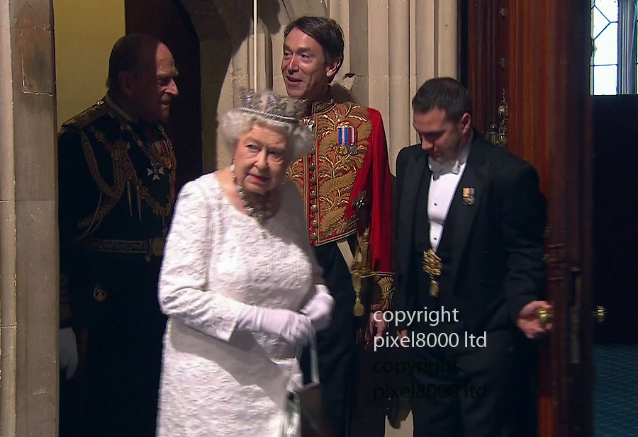 Pic shows: State Opening of Parliament<br /> Queen and Duke eschew the normal stairs and take the lift.<br /> She looks slightly disorientated on emerging from the lift.<br /> <br /> <br /> <br /> <br /> Picture by Pixel8000 07917221968