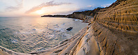 Scala dei Turchi, panoramic photo of the white cliffs at sunset, Realmonte, Agrigento, Sicily, Italy, Europe. This is a panoramic photo of Scala dei Turchi at sunset. Scala dei Turchi is a white limestone cliff on the Rossello cape at Realmonte near Agrigento in Sicily, Italy. Scala dei Turchi is without a doubt one of the best spots in Sicily to watch the sunset.