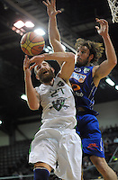 Casey Frank (right) intercepts Nick Horvath's layup during the national basketball league match between Wellington Saints and Manawatu Jets at TSB Bank Arena, Wellington, New Zealand on Tuesday, 7 May 2013. Photo: Dave Lintott / lintottphoto.co.nz