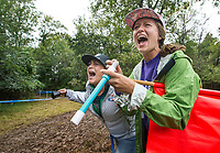 NWA Democrat-Gazette/BEN GOFF @NWABENGOFF<br /> Aimee Ross (left) and Kelsey Miller, both of Bentonville, cheer for racers in the UCI Elite Women race Sunday, Oct. 6, 2019, during the the Fayettecross cyclocross races at Centennial Park at Millsap Mountain in Fayetteville.