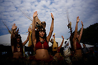 NEW YORK, USA - October 13: indigenous descendible pray to gods during a ceremony on October 13, 2019 in New York, USA. Hundreds of indigenous gather together for demanding the stop killing of their people in Ecuador and more awareness of what we're doing with the planet. (Photo by Eduardo MunozALvarez/VIEWpress)