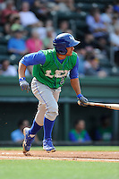 Shortstop Ramon Torres (2) of the Lexington Legends in a game against the Greenville Drive on Sunday, April 27, 2014, at Fluor Field at the West End in Greenville, South Carolina. Greenville won, 21-6. (Tom Priddy/Four Seam Images)