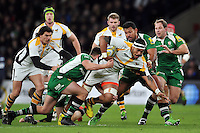 Nathan Hughes of Wasps takes on the London Irish defence. Aviva Premiership match, between London Irish and Wasps on November 28, 2015 at Twickenham Stadium in London, England. Photo by: Patrick Khachfe / JMP