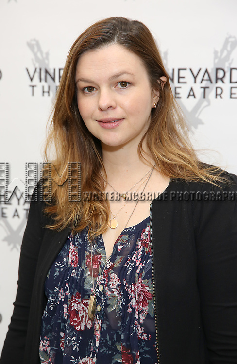 attends the photo call for The Vineyard Theatre production of 'Can You Forgive Her' at the New 42nd Street Studios on April 3, 2017 in New York City.