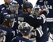 John Hayden (Yale - 21), Patrick Spano (Yale - 30) - The Harvard University Crimson tied the visiting Yale University Bulldogs 1-1 on Saturday, January 21, 2017, at the Bright-Landry Hockey Center in Boston, Massachusetts.