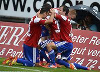 3. Fussball Bundesliga:  2. Spieltag    Saison   2012/2013   SpVgg Unterhaching  - FC Hansa Rostock   28.07.2012 Jubel nach dem Tor zum 2:0 Yasin Yilmaz, Dominik Rohracker mit Stephan Thee (v. li., Unterhaching)
