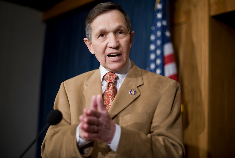 Rep. Dennis Kucinich, D-Ohio, conducts a news conference to announce he will support health care reform, March 17, 2010.