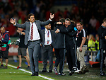 Chris Coleman manager of Wales celebrates the win during the World Cup Qualifying Group D match at the Cardiff City Stadium, Cardiff. Picture date 2nd September 2017. Picture credit should read: Simon Bellis/Sportimage