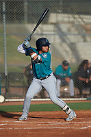 AZL Mariners Sebastian Ochoa (8) at bat during an Arizona League game against the AZL Giants Orange on July 18, 2019 at the Giants Baseball Complex in Scottsdale, Arizona. The AZL Giants Orange defeated the AZL Mariners 7-4. (Zachary Lucy/Four Seam Images)