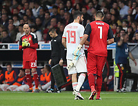 Spanish's forward Diego Costa (L); Argentina's goalkeeper Romero<br /> Spain vs Argentina selections team pre Russian Soccer World Cup football match at Wanda Metropolitano stadium in Madrid on March 27, 2018.