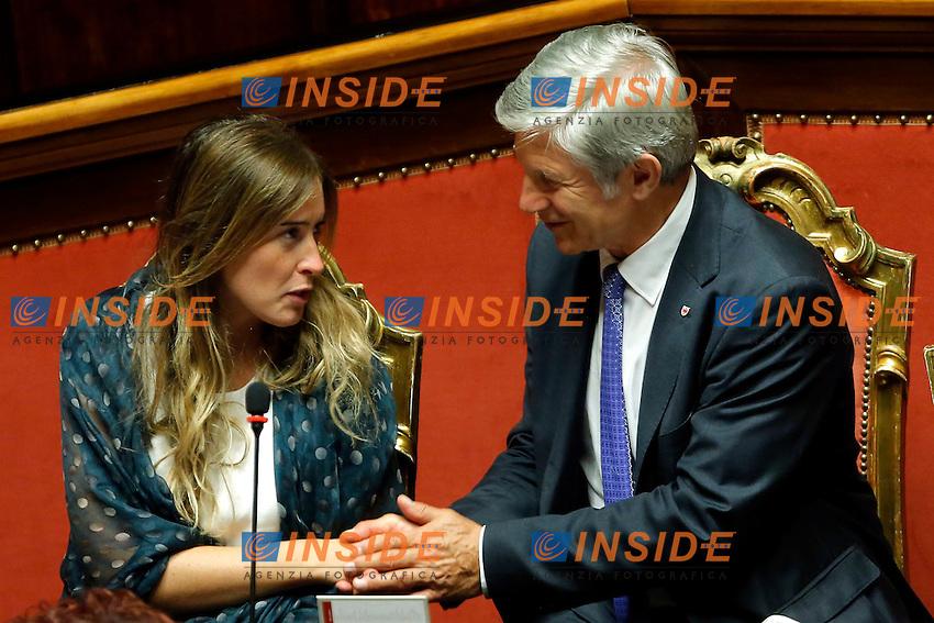 Maria Elena Boschi e Hans Berger <br /> Roma 17-09-2015 Senato. Discussione sul DDL Boschi, Riforma Costituzionale.<br /> Senate, discussion on Costitutional Reform<br /> Photo Samantha Zucchi Insidefoto