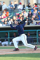 Brett Phillips (6) of the Lancaster JetHawks bats during a game against the San Jose Giants at The Hanger on April 11, 2015 in Lancaster, California. San Jose defeated Lancaster, 8-3. (Larry Goren/Four Seam Images)