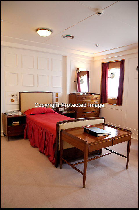 BNPS.co.uk (01202 558833)<br /> Pic: RYBritannia/BNPS<br /> <br /> Prince Phiips bedroom.<br /> <br /> Sir Hugh Casson's original design sketches for the Royal Yacht have come to light - after his daughter Carola presented colour slides to the Trust in Leith, Edinburgh. <br /> <br /> The sketches of the yacht's state rooms, the vision of renowned architect Sir Hugh Casson, reveal the Queen's love of simple yet modern design.<br /> <br /> Britannia was launched in 1953, two months prior to the Queen's coronation, and clocked up more than one million miles up until 1997 when it was decomissioned.<br /> <br /> Sir Hugh was commissioned to put forward ideas after the Queen and the Duke of Edinburgh shunned original designs put forward by the yacht's builders.<br /> <br /> Far from the majesty of their Victorian palaces, the Royal couple wanted the yacht to be a contemporary 'home from home'.<br /> <br /> Britannia Trust head Bob Downey said 'It is a testament to Sir Hugh's skills that the Queen never updated his stylish original designs.'