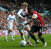 Leeds United's Jack Clarke battles with Brentford's Moses Odubajo<br /> <br /> Photographer Alex Dodd/CameraSport<br /> <br /> The EFL Sky Bet Championship - Leeds United v Brentford - Saturday 6th October 2018 - Elland Road - Leeds<br /> <br /> World Copyright &copy; 2018 CameraSport. All rights reserved. 43 Linden Ave. Countesthorpe. Leicester. England. LE8 5PG - Tel: +44 (0) 116 277 4147 - admin@camerasport.com - www.camerasport.com