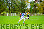 KOR's Shane Brosnan as Stacks Kieran Donaghy tries to intercept Roddy O'Donnell Memorial Cup Senior Football Championship Final against Kerins O'Rahilly at Ballymac GAA Ground on Sunday