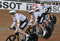 CALI – COLOMBIA – 16-01-2015: Equipo de Alemania, durante prueba de persecución por equipos femenino en el Velodromo Alcides Nieto Patiño, sede de la III Copa Mundo UCI de Pista de Cali 2014-2015  / Germany Team, during a Women´s Teams Pursuit test at the Alcides Nieto Patiño Velodrome, home of the III Cali Track World Cup 2014-2015 UCI. Photos: VizzorImage / Luis Ramirez / Staff.