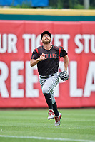 Indianapolis Indians outfielder Logan Hill (35) chases down a fly ball during an International League game against the Buffalo Bisons on June 20, 2019 at Sahlen Field in Buffalo, New York.  Buffalo defeated Indianapolis 11-8  (Mike Janes/Four Seam Images)