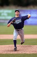 Tom Szapucki (18) of William T. Dwyer High School in Palm Beach Gardens, Florida playing for the Tampa Bay Rays scout team during the East Coast Pro Showcase on July 30, 2014 at NBT Bank Stadium in Syracuse, New York.  (Mike Janes/Four Seam Images)