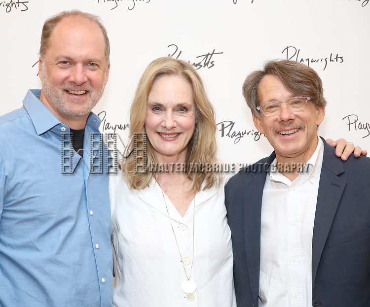 Daniel Jenkins, Lisa Emery and Ron Crawford attend the meet & Greet for Playwrights Horizons New York Premiere pf 'For Peter Pan on her 70th Birthday' on July 25, 2017 at the Playwrights Horizons Studios at  in New York City.