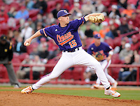 Pitcher Mike Kent (15) of the Clemson Tigers in a game against the South Carolina Gamecocks on March 3, 2012, at Carolina Stadium in Columbia, South Carolina. Carolina won, 9-6. (Tom Priddy/Four Seam Images)