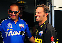 May 6, 2012; Commerce, GA, USA: NHRA top fuel dragster driver Brandon Bernstein (left) with Morgan Lucas crew chief Aaron Brooks during the Southern Nationals at Atlanta Dragway. Mandatory Credit: Mark J. Rebilas-