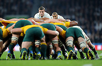 George Ford of England looks nervous as he watches the Wallabies scrum during Match 26 of the Rugby World Cup 2015 between England and Australia - 03/10/2015 - Twickenham Stadium, London<br /> Mandatory Credit: Rob Munro/Stewart Communications