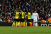 6th December 2017, Santiago Bernabeu, Madrid, Spain; UEFA Champions League football, Real Madrid versus Dortmund; Pierre Emerick Aubameyang (17) Borussia Dortmund  celebrates after scoring his team´s goal goal for 2-2