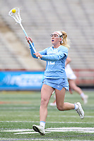 College Park, MD - February 24, 2019: North Carolina Tar Heels Ally Mastroianni (12) passes the ball during the game between North Carolina and Maryland at  Capital One Field at Maryland Stadium in College Park, MD.  (Photo by Elliott Brown/Media Images International)