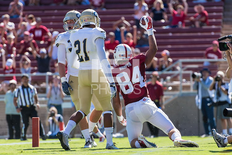 STANFORD, CA - AUGUST 30, 2014:  Austin Hooper celebrates during Stanford's game against UC Davis. The Cardinal defeated the Aggies 45-0.
