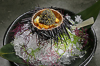 Oscietra Caviar (sea urchin) Waku Ghin Restaurant at Marina Bay,  in Singapore 13 March 2015.