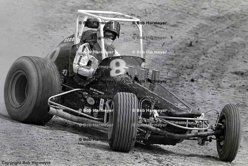 Gary Bettenhausen races his 1976 USAC sprint car at Eldora Speedway, Rossburg, Ohio.