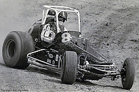 Gary Bettenhausen races his 1976 USAC sprint car at Eldora Speedway, Rossburg, Ohio.