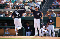 Detroit Tigers Andrew Romine (17) high fives Austin Green (71) after hitting a home run during an exhibition game against the Florida Southern Moccasins on February 29, 2016 at Joker Marchant Stadium in Lakeland, Florida.  Detroit defeated Florida Southern 7-2.  (Mike Janes/Four Seam Images)