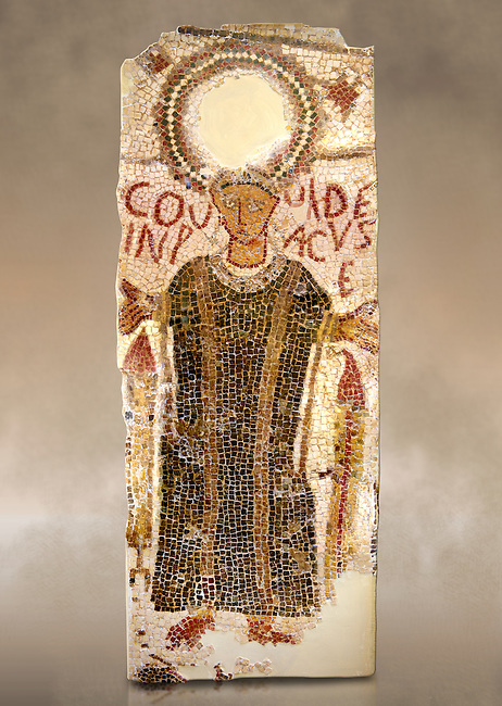 """5th century Eastern Roman Byzantine  funerary mosaic from Tarbaka in the Roman province of Africa Proconsularis , present day Tunisia, with a crown at the top probably a Christogram  (Latin Monogramma Christi ) is a monogram used as an abbreviation for the name of Jesus Christ, with a figure below and a latin text for the deceased """" Covuldeus in peace"""". Either side of the figure are a lit candle which symbolises eternal faith. The Bardo National Museum, Tunis Tunisia.<br /> <br /> Christian burial grounds The ingenuity and expertise of mosaic schools, particularly those operating in Proconsular Africa and By-zacena, led to the dissemination of a mosaic trend which was very well tailored to the needs of a Christian clientele, who was authorised by the Church to use the basilica area and its ancillaries for burial, particularly in the sacred spaces such as the baptistery and the choir."""