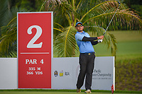 Vanseiha SENG (CAM) watches his tee shot on 2 during Rd 1 of the Asia-Pacific Amateur Championship, Sentosa Golf Club, Singapore. 10/4/2018.<br /> Picture: Golffile | Ken Murray<br /> <br /> <br /> All photo usage must carry mandatory copyright credit (&copy; Golffile | Ken Murray)
