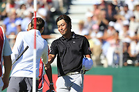 Hideto Tanihara (JPN) and Matthew Fitzpatrick (ENG) finish on the 18th green during Saturday's Round 3 of the 2018 Omega European Masters, held at the Golf Club Crans-Sur-Sierre, Crans Montana, Switzerland. 8th September 2018.<br /> Picture: Eoin Clarke | Golffile<br /> <br /> <br /> All photos usage must carry mandatory copyright credit (&copy; Golffile | Eoin Clarke)