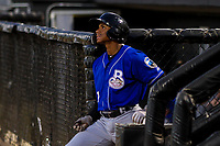 Biloxi Shuckers outfielder Corey Ray (1) looks on from the dugout during a Southern League game against the Jackson Generals on July 27, 2018 at The Ballpark at Jackson in Jackson, Tennessee. Biloxi defeated Jackson 15-7. (Brad Krause/Four Seam Images)