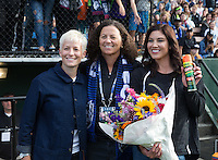Seattle, WA - Saturday July 16, 2016: Megan Rapinoe, Lesle Gallimore, Hope Solo prior to a regular season National Women's Soccer League (NWSL) match between the Seattle Reign FC and the Western New York Flash at Memorial Stadium.