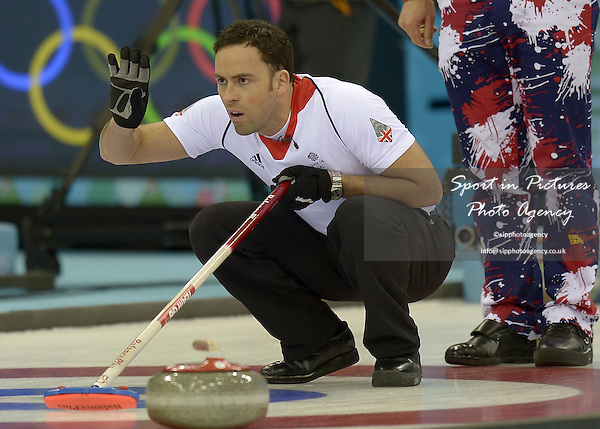 David Murdoch (GBR, skip). Play off for semi-final place - GBR v NOR - Mens curling - Ice Cube Curling Centre - Olympic Park - PHOTO: Mandatory by-line: Garry Bowden/SIPPA/Pinnacle - Photo Agency UK Tel: +44(0)1363 881025 - Mobile:0797 1270 681 - VAT Reg No: 768 6958 48 - 180214 - 2014 SOCHI WINTER OLYMPICS -Ice Cube Curling Centre, Sochii, Russia
