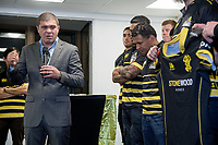 The Lions jersey is blessed during the Wellington Lions season launch at 89 Courtenay Place in Wellington, New Zealand on Friday, 11 August 2017. Photo: Marty Melville / lintottphoto.co.nz