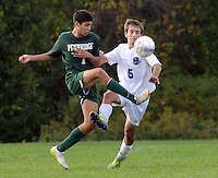 SSOUTH09<br /> Pennridge's Brian Zuluaga #7 and Central Bucks South's Brian Davis #5 battle for a loose ball in the first half Thursday October 8, 2015 at Central Bucks South in Warrington, Pennsylvania. (William Thomas Cain/For The Inquirer)