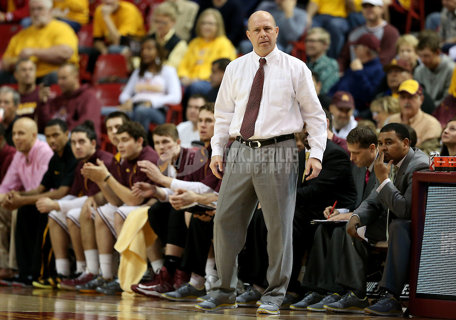 Jan. 26, 2013; Tempe, AZ, USA: Arizona State Sun Devils head coach Herb Sendek in the first half against the UCLA Bruins at the Wells Fargo Arena. Mandatory Credit: Mark J. Rebilas-USA TODAY Sports