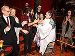 Katrina Yaukey with Josh Groban and company during the Broadway Opening Night Actors' Equity Gypsy Robe Ceremony honoring Katrina Yaukey  for  'Natasha, Pierre & The Great Comet Of 1812' at The Imperial Theatre on November 14, 2016 in New York City.