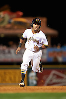 Bradenton Marauders center fielder Elvis Escobar (16) running the bases during a game against the Fort Myers Miracle on April 9, 2016 at McKechnie Field in Bradenton, Florida.  Fort Myers defeated Bradenton 5-1.  (Mike Janes/Four Seam Images)