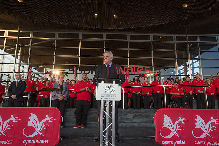Glasgow 2014 Comonwealth Games<br /> Team Wales reception<br /> First Minister Carwyn Jones.<br /> Senedd<br /> 10.09.14<br /> &copy;Steve Pope-SPORTINGWALES